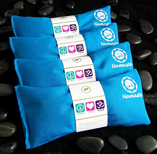 Happy Wraps Namaste Yoga Eye Pillows - Lavender Eye Pillows for Yoga - Weighted Aromatherapy Eye Pillow Mask for Yoga - Stress Relief and Relaxation Gifts Hot Cold Therapy - Set of 4 - Turquoise