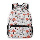 DJNGN Mochila informal con estampado de setas de dibujos animados, mochila clásica para viajar con bolsillos laterales para botellas