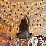 120LED 12M 8 patrones de alambre de cobre con pilas, impermeables, para interiores y exteriores, luces de cadena con temporizador de control remoto, dormitorio, boda, Navidad (blanco cálido)