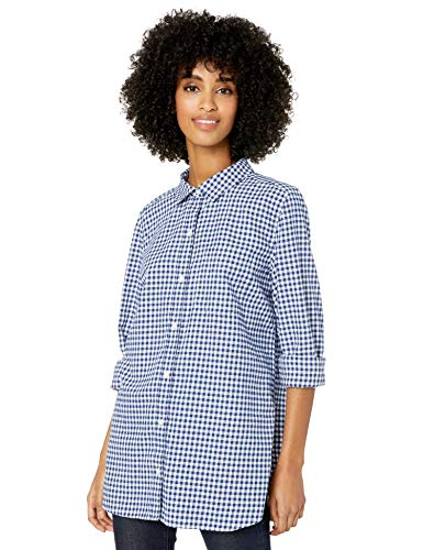 Goodthreads Solid Brushed Twill Long-Sleeve Button-Front dress-shirts, Navy/White Gingham, US S (EU S - M)