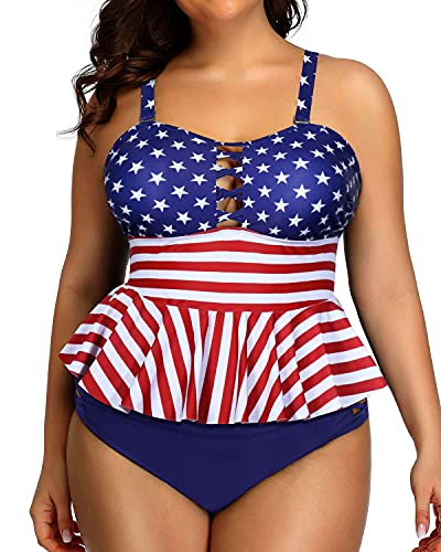 swimsuit for large bust and tummies Yonique Plus Size Swimsuits for Women Tummy Control Two Piece Bathing Suits Peplum Tankini Tops High Waisted Swimwear