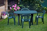 Garden Life 4020V Mesa ovala, Verde, 130x90x10 cm