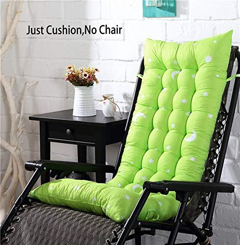 Coussin de Chaise à Dossier Haut antidérapant pour Chaise Longue Pliable Lavable Universel épais Coussin de Chaise à Bascule (sans Les chaises). 110 x 40 x 8 cm Vert