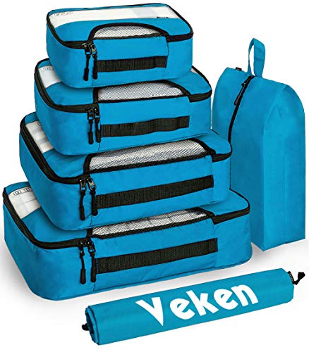 Veken packing cubes, Blue, XL-Large, Large, Medium, Small