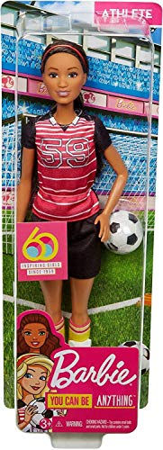 Barbie Athlete Doll, Brunette Soccer Player Doll Wearing Uniform and Socks with Soccer Ball, for 3 to 7 Year Olds​​​