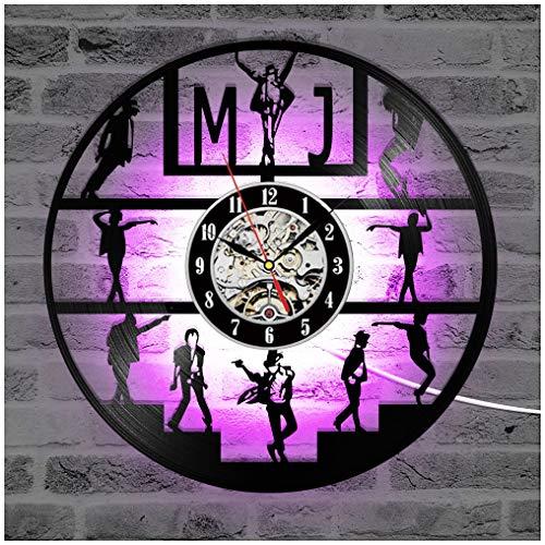 ZhangXF Reloj de Pared con Disco de Vinilo Luminoso LED, 12'Retroiluminación Retroiluminada Retroiluminada Manual Moderna, Decoración...