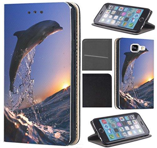 Samsung Galaxy A5 2017 A520 Hülle von CoverHeld Premium Flipcover Schutzhülle Flip Case Motiv (626 Delfin im Meer Delphin Blau Grau)