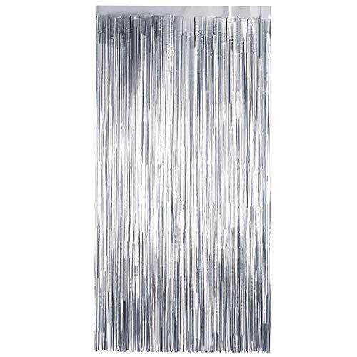 TRIXES Silber Folie Vorhang – Party Hintergrund Fransen Dekoration – Tür Tinsel Foto Prop - perfekt für Einhorn Thema Party Hochzeit Henne Geburtstag Feiern – 2 Meter
