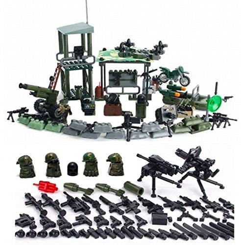 Mini figuras Jungle Outpost ejército con armas militares y accesorios Soldados Ejército Guerra Armas Accesorios Ladrillos de construcción Bloques de construcción Compatible con Lego Minifiguras