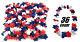 36 Pack Patriotic Leis Red White and Blue Party Leis for 4th of July, Picnic, Parade, Veterans day, Memorial Day, labor day, BBQ Parties