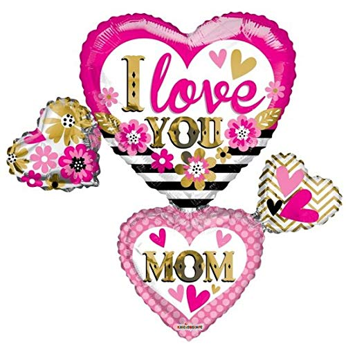 Folie ballon xl voor moederdag I LOVE YOU MOM 91,4 cm groot