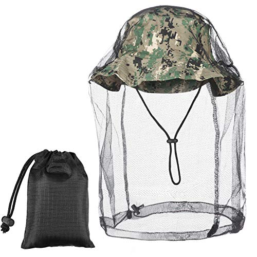 Head Net with Bucket Hat Set 1 Piece Mosquito Head Net Head Cover Netting Head Face Net with 1 Bucket Hat for Hiking Camping Fishing Outdoor Activities Navy Blue, Black