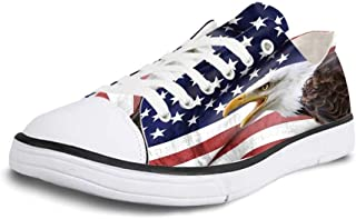 Canvas Sneaker Low Top Shoes,American Flag Decor Close Up Design Flag Over Antique Rustic Rippled Board Federal Country