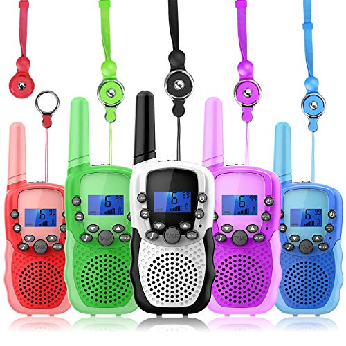 Wishouse Walkie Talkies 5 Pack Long Range, Family Wearable Radio for Kids Adults,Girls Boys Army Toys with Flashlight Lanyards for Outdoor Camping Games Cosplay Xmas Birthday Gift Children