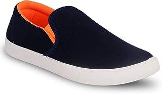 Creation Garg Men's Pilot Orange & Black Casual Shoes