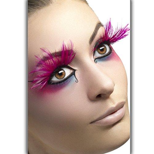 NET TOYS Longs Cils de Plumes - Rose | Cils artificiels avec des Plumes | Faux Cils Carnaval | Maquillage avec Plumes
