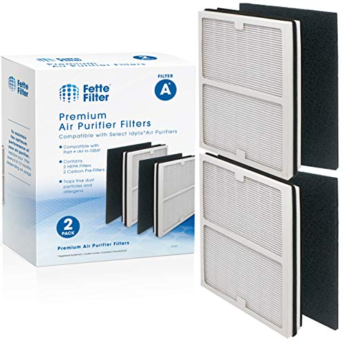 Fette Filter - Air Purifier Filter Compatible with Idylis Air Purifiers A Type. Compatible with IAP-10-100 Idylis IAP-10-150, AC-2119, IAF-H-100A. Includes 2 HEPA Filters & 2 Carbon Filters.