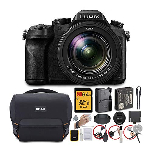 Panasonic LUMIX FZ2500 4K Point and Shoot Camera with 64GB USH-II V60 SD Card and Koah Roebling Gadget Bag with Accessory Bundle (3 Items)