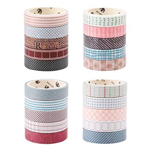 Ensemble de rouleaux de papier Washi en quatre thèmes, 20 Pcs 10 mm x 5 metre Cueilli décoratifs Craft Supply rubans pour le scrapbooking/DIY, 5 rouleaux