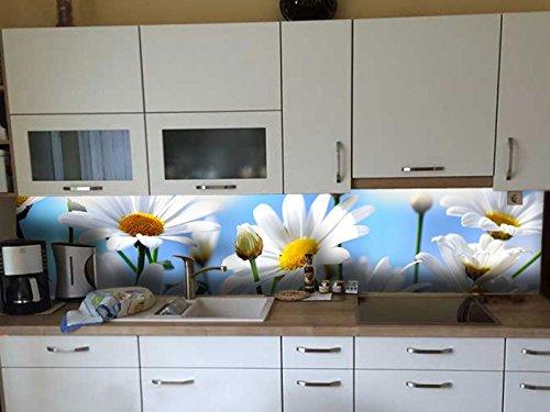Dalinda® Küchenrückwand Küchenboard Küchenrückseite mit Design weiße Blumen KR031