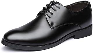 [TWDEFY] ブラック メンズ ビジネスシューズ プレーントゥ レザーシューズ 革靴 メンズ 紳士靴 営業マン 通勤 防滑,23.5cm-27.5cm