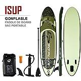 COSTWAY Stand Up Paddle Gonflable Paddleboard Planche de Surf avec Pagaie,Sac à Dos et Pompe et Leash et Kit de Réparation (335 x 76 x 15 cm(Vert))