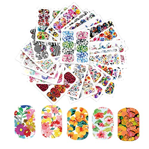 HQdeal 25 Fogli Adesivi Unghie Decalcomania Trasferimento ad Acqua 3D Nail Stickers Water Decals Nails Fai da Te Arte Unghie Autoadesivi Nail Art Colore Misto...