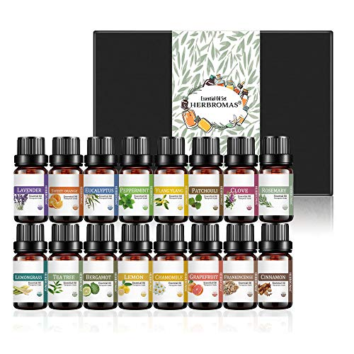 Essential Oil Set by HERBROMAS - Top 16 Natural Aromatherapy...