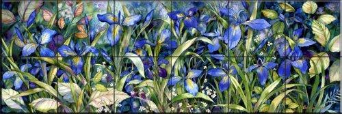 Fliesenwandbildbild - Blue Iris - von Kathleen Parr McKenna - Küche Aufkantung/Bad Dusche