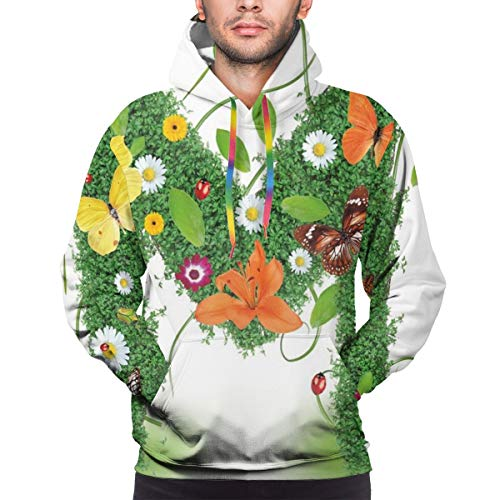 Men's Hoodies 3D Print Pullover Sweatershirt,Wildflowers with Butterflies of Various Shapes and Sizes Vibrant Color Image,L
