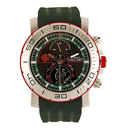 Relojes Calgary Marine Team. Reloj Deportivo para Caballero, Correa Verde Militar y Esfera Verde y Plateada