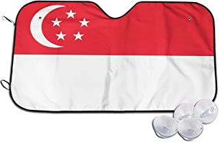 WUZZZZ Singapore Flag Car Windshield Cover Sun Shade Summer Sun Protector Ice Removal Windshield Protector Snow Protection Cover Fits Most of Car