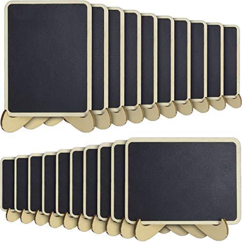 iGadgitz Home U6931-KIT - Mini Pizarra Decorativa Mini Pizarras Madera Borrable con Soporte para Tablón de Mensajes, Exhibidores, Eventos de Boda Decoración de Cumpleaños - Negro - 20 Piezas