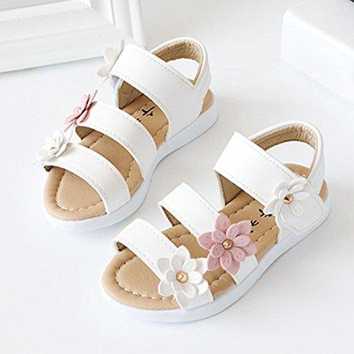Kinder Sandalen mit Blumen, Lauflernschuhe (25, Weiß) - 2