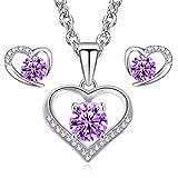 LYL.Adorer Schmuckset Damen,Herz Halskette Ohrringe Set 5A Zirkonia Lila,925 Sterling Silber,Geschenke für Frauen