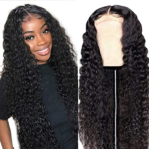 13x4x1 Deep Wave Curly Wigs Human Hair T Part Lace Front Wigs Brazilian Deep Wave Wigs for Black Women 150% Density Deep Wave Wigs Pre Plucked with Baby Hair Natural Color 18 Inch