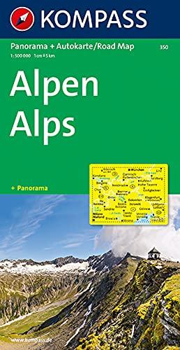 Kompass Panorama-Karten, Alpen: Autokarte mit Panorama. 1:500000