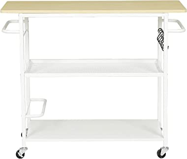 Hasuit 3 Tier Kitchen Island Cart on Wheels, Rolling Kitchen Island with Shelves and Handle for Home Kitchen