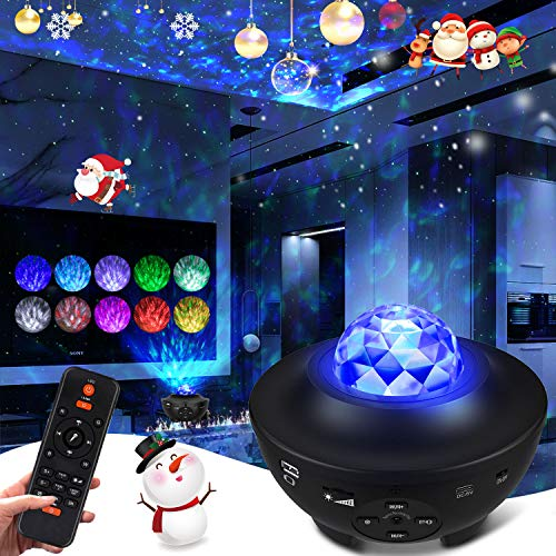 LED Sternenhimmel Projektor, Sternenlicht Projektor, Fernbedienung 10-Farben-Ambiente mit Bluetooth-Musiklautsprecher für Babykinder Schlafzimmer für Erwachsene Geburtstag Tiefschlaf (Holzkohle)