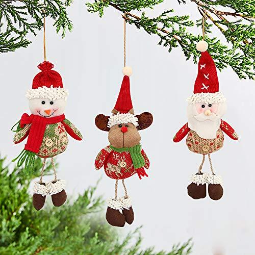 MMTX Weihnachtsschmuck Set, Weihnachten hängende Dekoration Weihnachtsmann Schneemann Rentier Puppe für Weihnachtsbaum Anhänger Tisch Kamin Urlaub Party Dekor Geschenk