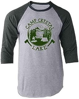 Pop Threads Camp Crystal Lake Counselor T Shirt Horror Costume Raglan Baseball Tee Shirt