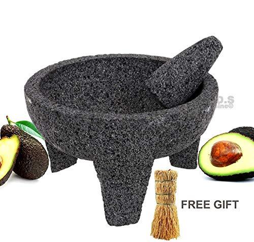 "Molcajete 8"" Mortar & Pestle Salsera Salsa Guacamole Tejolote Lavastone Aztec Mayan Toltec Volcanic Rock Ancient Traditional Pre-Hispanic Antique Grinding Stone Metlapil Bowl"