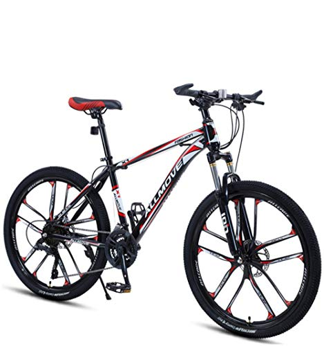 DGAGD 24 inch Mountain Bike Male and Female Adult Variable Speed Racing Ultra-Light Bicycle Ten Cutter Wheels-Black red_24 Speed