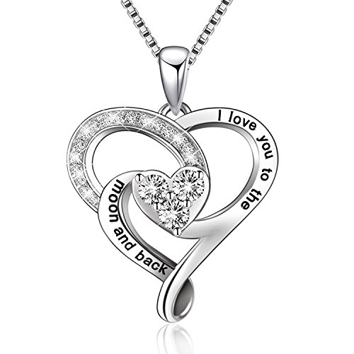 """BGTY 925 Sterling Silver Jewelry I Love You to The Moon and Back Love Heart Pendant Necklace, 18"""" Box Chain"""