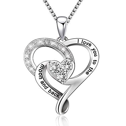BGTY Plata de Ley 925 'I Love You a la luna y parte trasera' amor corazón colgante collar, la cadena de caja de 18 '