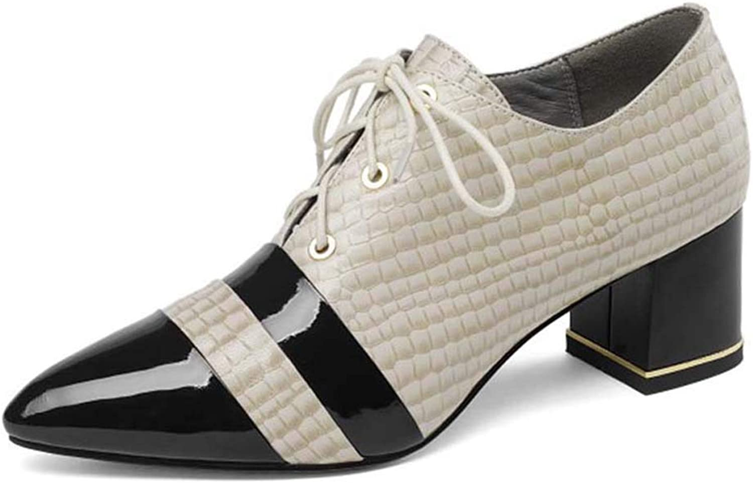 Women's Leather high Heels, Women's Single shoes with Thick and Low Heels, Comfortable and Breathable Wild Oxford shoes