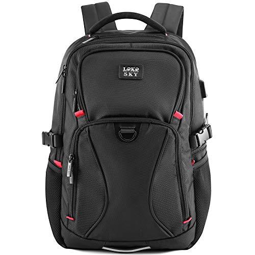 Lekesky Travel Laptop Backpack for Men Large Capacity Business School Bag Laptop Back Pack with USB Charging Port Fits 15.6 Inch Computer (Black)