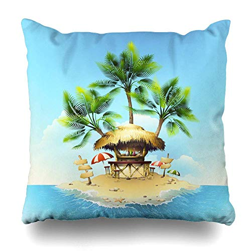 Egoa Cushion Cover Tropische Bungalow-Bar op geïsoleerde ruimte hut Camping Island Ocean Resort Rail natuurhut kenteken 45X45cm kussensloop vakantie kussensloop decoratieve wooncultuur