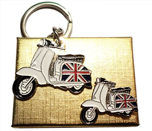 GB Union Flagge Seitendeckel Scooter Badge & Schlüsselring Mod Metall Emaille Set