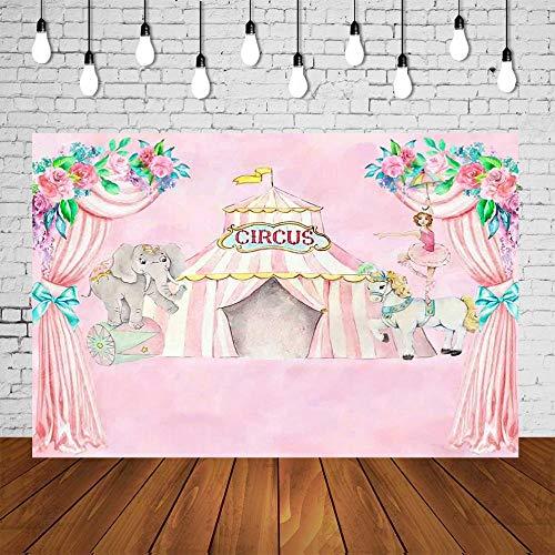 Telón de Fondo la Pared de Flores Vinilo La Fiesta de cumpleaños del Circo de Color Rosa Modelo Elegante Toma de imágenes de Fondo Fondo Fiesta Foto del Estudio Toma de imágenes de Fondo Plegable y